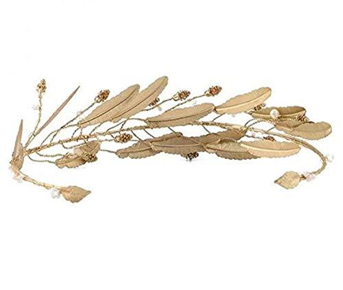 QSBR Diademe Für Damen Krone Braut Tiara Stirnband Haarschmuck Blattgold Sen weibliches - Blattgold Stirnband Kostüm