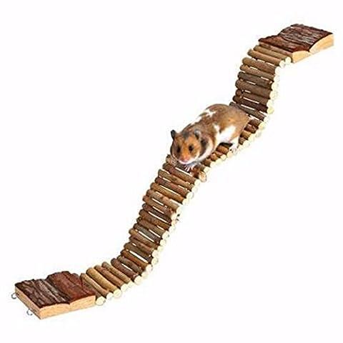 Yalulu 7*55cm Saine Clubs Flexible Fun en bois souris Rat Hamster échelle Pont rampants Jouet pour oiseau