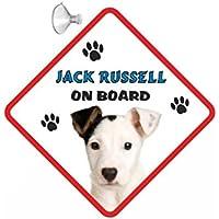 Jack Russell (WHT SH) perro colgar Auto Cartel con goma Sucker 146
