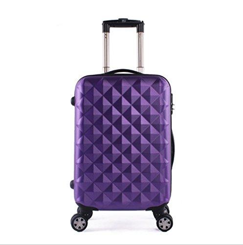Xiuxiandianju 20 pollici 24 pollici 28 pollici girevole leva ABS chiusura fibbia usura impermeabile per il tempo libero viaggio valigia diverse SuitcaseColour & taglia (36-55L) purple