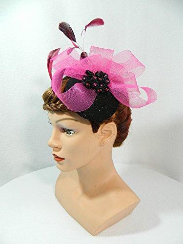 Fascinator schwarz pink Minihat Headpiece Swing Anlasshut Damenhut Burlesque Karneval Silvester Partyhut Hütchen (Sexy Klassische Flapper Kostüme)