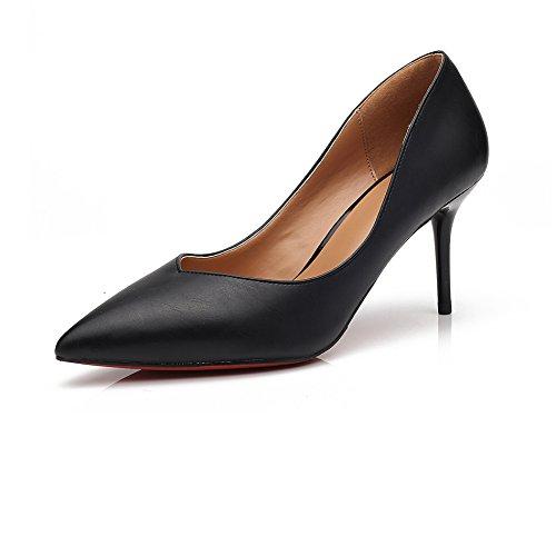 Einfach Klassisch Damen on Spitz High Arbeitsschuhe Heels Slip Atmungsaktiv Stiletto Elegant B眉ro Zehen Schwarz OL Bequem Pumps 1UqrUxX