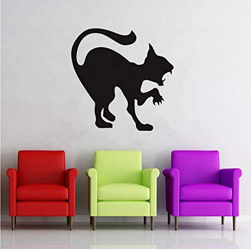 ze Wandaufkleber, Halloween Plane Cartoon Fensterglas Aufkleber, Heiße Kinder Vinyl Home Decor Scary Cat Schablone Decals ()