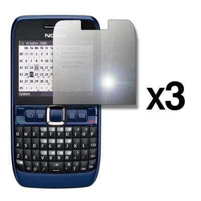 3 Pack of Premium Reusable LCD Mirror Screen Protectors for Nokia E63 [Accessory Export Packaging]