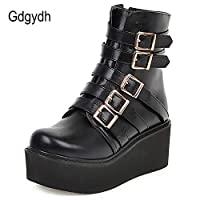 LFLXUE Platform Wedges Heel Ankle Boots For Women Buckle Gothic Leather Boots Woman