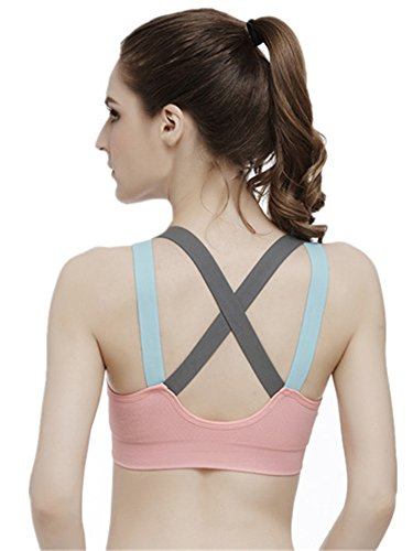 YeeHoo Damen Abnehmbare gepolsterte Wire-Free Criss Cross Back sexy Yoga Sport BH