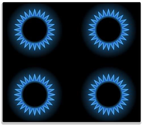 Wallario Herdabdeckplatte/Spritzschutz aus Glas, 1-teilig, 60x52cm, für Ceran- und Induktionsherde, Flammen - Gasherd bei Nacht