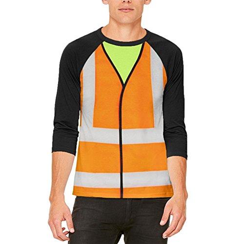 Halloween Straße Arbeiter Bau Weste Kostüm Herren Raglan T Shirt weiß-schwarz MD
