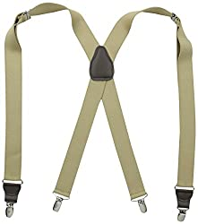 Stacy Adams Mens Clip On Suspenders, Tan, One Size