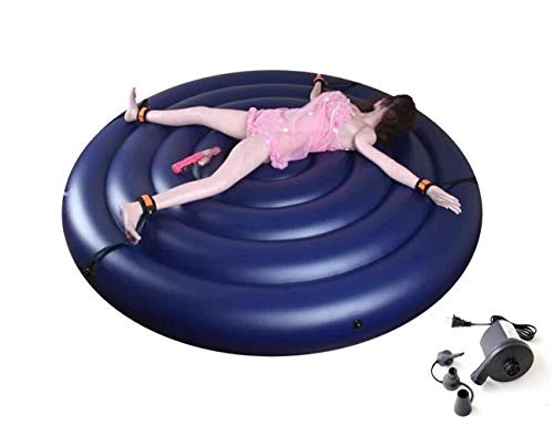 Samon Aufblasbares Sex-Sofa-Bett-entspannendes Sex-Kissen Multifunktionales Sex-Möbel-großes Rundes Bett für Mann-Frauen mit Handschellen u. Bein-Manschetten-Elektrischer Luftpumpe