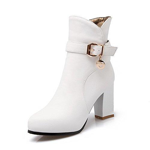 AllhqFashion Damen Weiches Material Rein Niedrig-Spitze Hoher Absatz Stiefel, Weiß, 36