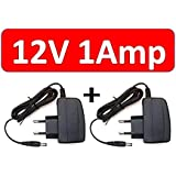 Lord krishna's (Pack of 2) 12v 1Amp AC/DC power Adapter Supply for LED strip, CCTV Camera, Router, Modem (2.1 x 5.5 mm pin, Black)