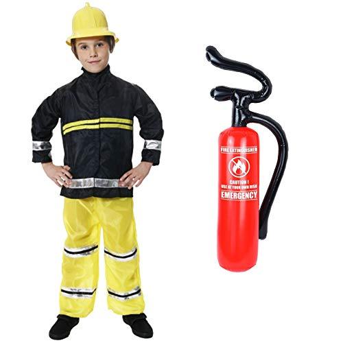Janisramone Jungs Kinder Neu Feuerwehrmann Sam Feuer Kämpfer Chief Kostüm Uniform Buch Woche Tag Kinder Fancy Kleid Up Party ()