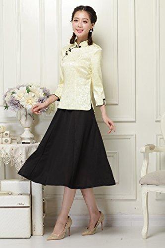 ACVIP Femme Veste de Tang Chemise Blouse en Coton Style Chinoise Traditionel Beige+Jaune