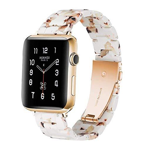 H&T Resin-Armband, Für Apple-Uhrenarmband 38Mm 40Mm Für Damen Herren Robuste Quick Release Ersatz Iwatch 5 4 3 2 1 Für Parteiarbeit Datum Lauf,Weiß,42mm