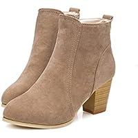 Beladla Zapatos De Mujer Botines Cortos Cabeza Redonda TalóN Grueso TacóN Alto Femenino Botas Martin Invierno Moda Ocio TalóN Grueso Espesor del Zapato Zapatos Inferiores