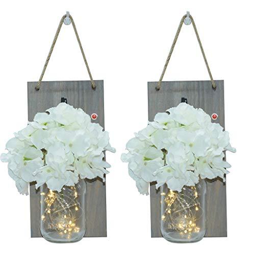 Land Rustikal Zuhause LED Einmachglas Laterne Einmachglas Wandleuchte Hängendes Glas Blumenlicht Wandlampen mit LED Lichterketten Dekoration