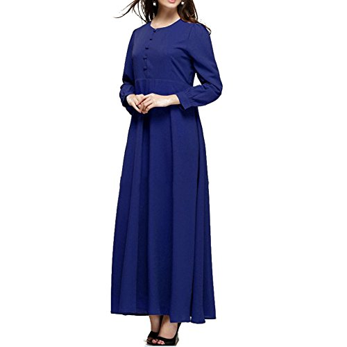 hibote Muslim Retro langärmliges Kleid neueste Robe Islam Dame Blau