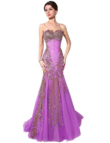 Sarahbridal Damen Kleid Violett - Lavender