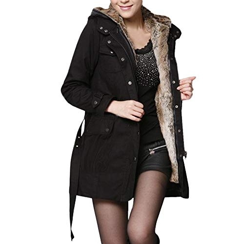 Supertong Damen Winterparka Winterjacke mit Kapuze Parka Jacke Lang Mantel Frauen Wintermantel Winter Warm Fleece Gefütterte Steppjacke Kapuzenjacke Casual Outdoor Wolle Futter Trenchcoat mit Gürtel