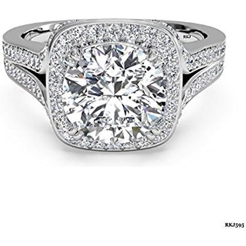 2Ct Solitario Redondo Brillante Corte diamantes cojín de Halo oro blanco de 14K Sólido Anillo De Compromiso, Boda, novia aniversario amor, todos los UK tamaño H a Z