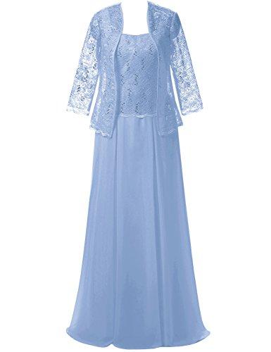 JAEDEN Damen Herzform Chiffon Mutter der Braut Kleider mit Jacke Spitze Abendkleid Lang Festkleid #40 EUR52 (Kleid Der Braut Türkis Mutter)