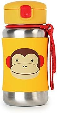 Skip Hop Baby Zoo Little Kid and Toddler Feeding TravelToGo InsulatedStainless Steel Straw Bottle, 12 oz, Mult