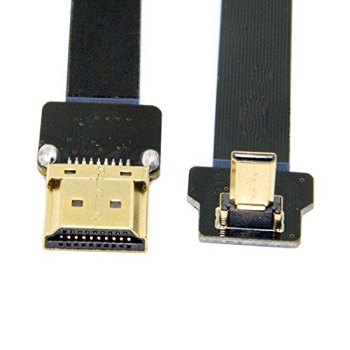 Audio-micro-steckverbinder (chenyang cyfpv 90Grad bis abgewinkelt FPV Micro HDMI Stecker zu HDMI Flach Männlich Kabel 50cm für FPV HDTV Multicopter Aerial Photography)