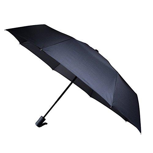 hopeu5® Facile Trasporto Auto Aprire e Chiudere antivento Pongee Compatto Pieghevole Ombrello per unisex nero Black