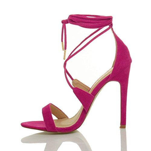 Donna tacco alto appena malapena là cinghietti allacciare sandali scarpe taglia Fucsia scamosciata