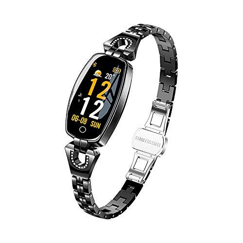 ARAYACY Weiblicher Fitness-Tracker - Smart Armband HD-Farbbildschirm Wettervorhersage Wasserdichte Herzfrequenz-Blutdruck-Gesundheits-Test-Weibliches Armband,Black