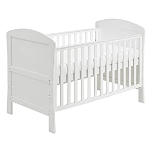 Babymore Aston Drop Side Cot Bed (White) with Foam Mattress Boori Sleigh design to match similar styled cot beds 3 tiers with slide out middle shelf Perfect for holding all baby's nappies and toiletries 3