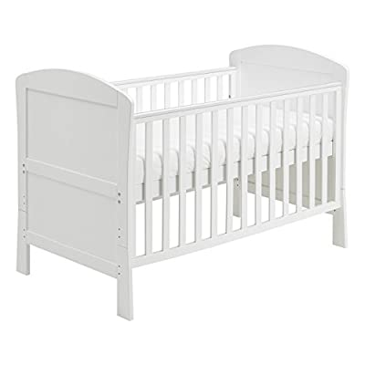 Babymore Aston Drop Side Cot Bed (White) with Foam Mattress  Vladon