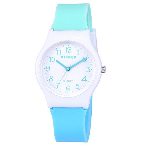 Zeiger Mädchen Uhr Kinder Analog Quarzwerk mit Silikon Armband Blau KW038