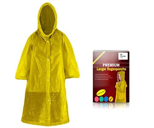 Worldsteps Regenponcho lang mit Kapuze für Erwachsene (1,60m bis 2,00m) - Stabiler Langarm Regenponcho wiederverwendbar (gelb)