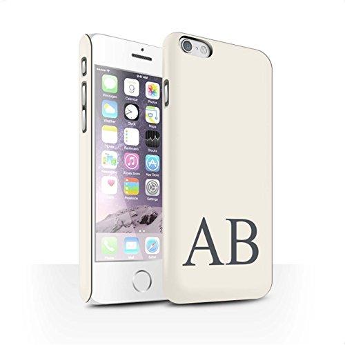Personalisiert Pastell Monogramm Matte Hülle für Apple iPhone 6 / Grünes Design / Initiale/Name/Text Snap-On Schutzhülle/Case/Etui Elfenbein
