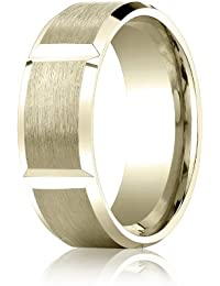 18ct Yellow Gold, 8mm Comfort-Fit Satin-Finished Grooves Carved Band (sz H to Z5)