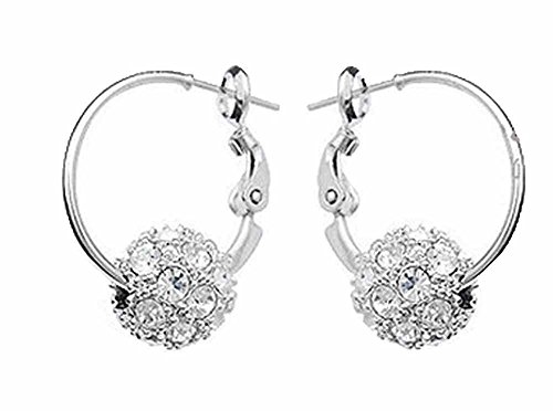 Price comparison product image korpikus® Crystal Rhinestone Jewel Shiny Silver Metal ' Ball ' Earrings Set in FREE Organza Gift Bag!