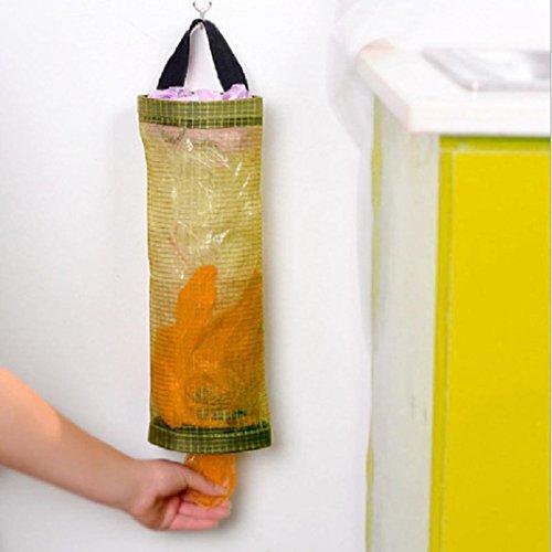 STRIR Organizador de Bolsas Hanging Mesh Rubbish, 1pcs Portavasos Innovador Plegable, Bolsas de plástico Transparente/Dispensador de Bolsas de Basura para Cocina