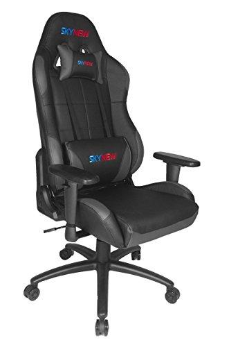 Skynew GTX Serie Schreibtischstuhl/Gaming Stuhl/Bürostuhl/Chefsessel mit Armlehnen, hochwertig Kunstleder, Sportsitz inklusiv Kissen (GTX, Schwarz-Grau) GTX BGY-A -