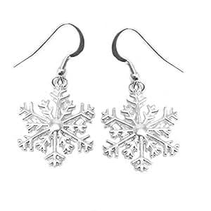 Snowflake earrings on 925 sterling silver hooks