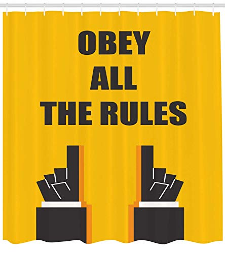 ZKHTO Obey Shower Curtain, Obey All The Rules Quote Sign Guidelines Traffic Caution Attention Board, Cloth Fabric Bathroom Decor Set with Hooks, Earth Yellow and Black,60 X 72 Inches
