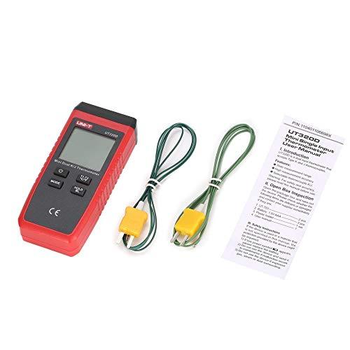 WEIWEITOE-DE Uni-T UT320D K/J Typ Dual-CH Digital Thermoelement Thermometer Handheld Temperaturmesser 2 Stücke K Typ Sensor Sonde 0~260 ℃, Black & Red, -