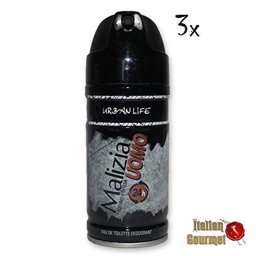 3x MALIZIA UOMO URBAN Life man deo 150ml deospray deo spray deodorant Edt parfum (Malizia Deo Spray)