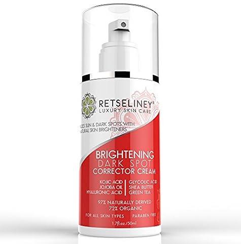 Retseliney Best Dark Spot Corrector Cream, for Age, Brown and Sun Spots, Vegan, Natural & Organic Skin Brightening for Face with Kojic Acid & Hyaluronic Acid, Skin Lightening Lotion for Men &