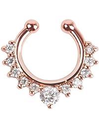 Live it estilo it anillo de nariz Septum Colgante Artificial de Clip Clicker Gem Piercing no