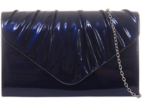 Fi9 ® pieghe in pelle verniciata Bridal Wedding Evening Handbag-Borsa a tracolla, borsa a mano Multicolore (Blu Royal)