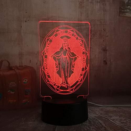 wangZJ 3d nachtlicht für kinder / 3d illusion nachtlicht/halloween geburtstagsgeschenk/wohnkultur/touch button/die jungfrau maria