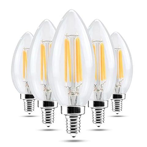 Haute qualité , E14 4W Hot White Cool White Glass Shell LED Bougie Lumière Edison LED Filament Lampe LED Ampoule 220-240V (5pcs) Fit Maison et cuisine ( Couleur : Blanc Neige )