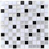 Profesticker Carrelage Adhesif Mural Autocollant Carreau Ciment 3D Sticker Mural Auto-Adhésif Credence Adhesive Decoratif Cuisine Salle de Bain (12Pouces) (6Carreaux) (Mosaique Noir-Argent-Blanc)